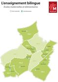 Carte des écoles présentant un enseignement bilingue