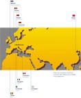 Carte des villes avec lesquelles Mulhouse entretient des relations de jumelage et de coopération