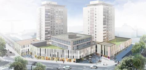 Vue générale sur le nouveau conservatoire - crédit TAO Architecte