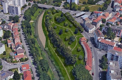 Terrasses du musée due de haut (esquisse)