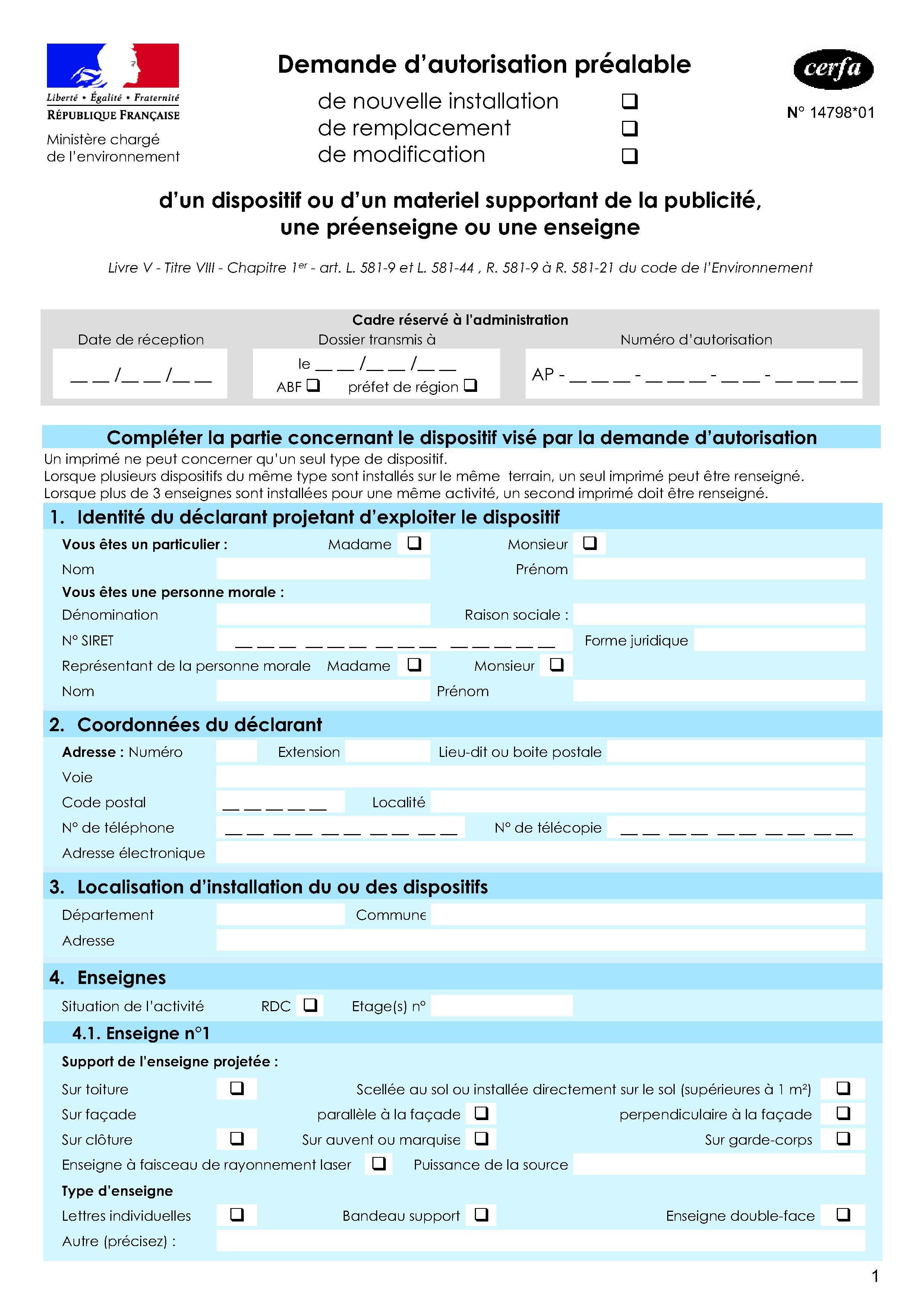 Demande d'autorisation pour l'installation d'une enseigne