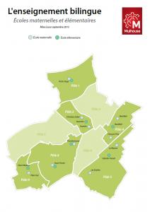 Carte des écoles présentant un enseignement bilingue - 2015