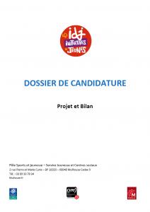 Dossier de candidature à la bourse aux projets Initiatives de jeunes 2017