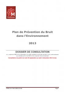 Plan de prévention du bruit dans l'environnement - 2013