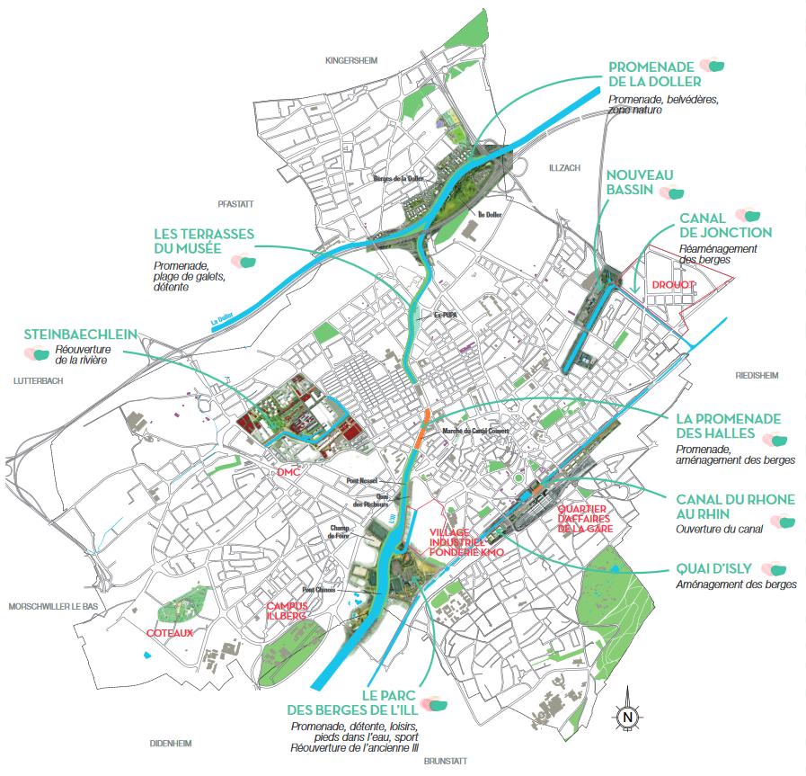 Carte des secteurs de Mulhouse Diagonales