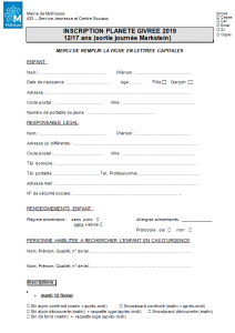 Formulaire d'inscription - Planète Givrée (sortie journée)