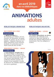 Agenda des bibliothèques de Mulhouse (Adultes) : Avril 2019