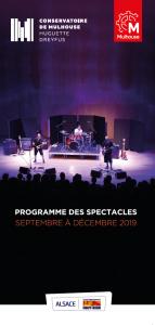 Programme des spectacles du conservatoire de Mulhouse - septembre à décembre 2019